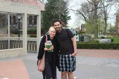 Joyce Suslovic visits with her son A.J. during a College Expo trip to Boston. A.J. is a student at Tufts University, so Suslovic gets to see him while she takes her students to visit colleges.