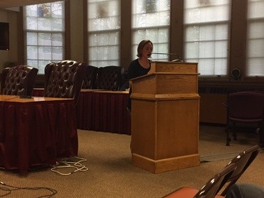 Syracuse City School District Education Commissioner Katie Sojewicz, a parent of three city school district students, spoke against the expansion of Syracuse Academy of Science charter school at a hearing Oct. 12.