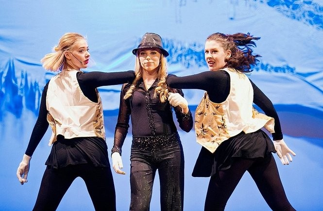 """Marcellus High School students, left to right, Emma Holynski, Olivia Bird, Alyssa Goodwin, rehearse for """"Pippin,"""" the school's 2017 spring musical."""