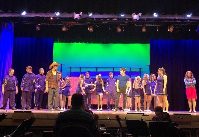 """Oneida High School students rehearse for their spring 2018 musical, """"Footloose."""""""