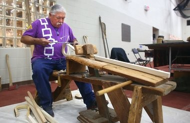 Onondaga Alfred Jacques working on a lacrosse stick at the Native American Arts and Culture Festival in Hamilton, in this 2014 file photo.