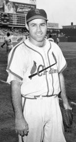 This is a Sept. 5, 1949, file photo showing St. Louis Cardinals catcher Joe Garagiola. Former big league catcher and popular broadcaster Joe Garagiola has died. He was 90. The Arizona Diamondbacks say Garagiola died Wednesday, March 23, 2016.