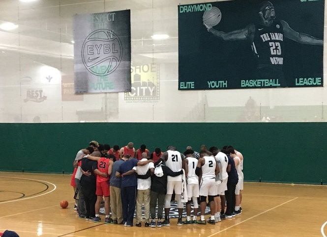 Players from the New York Renaissance and Expressions Elite joined together to honor the memory of James Hampton, a young man from Team United who lost his life on the basketball court the previous day. May 2018