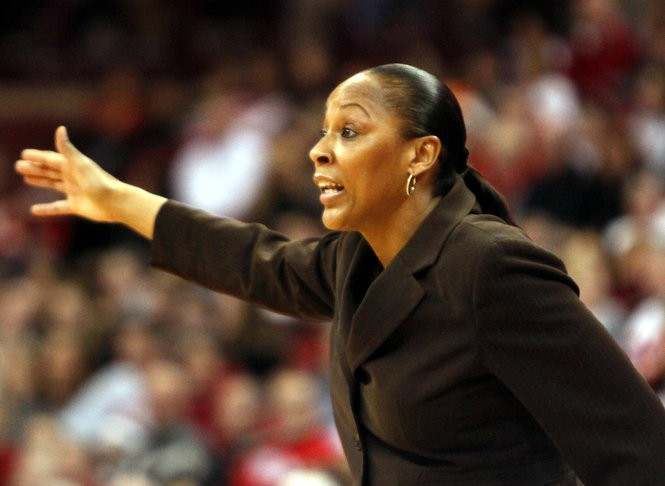 Indiana coach Felisha Legette-Jack yells to her players during the second half of an NCAA college basketball game against Ohio State, Thursday, Feb. 16, 2012, in Columbus, Ohio. Ohio State won 75-54. (AP Photo/Terry Gilliam)