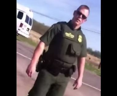 A border patrol agent as seen by Jessica Cooke's camera.