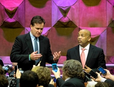 Senate Majority Leader John Flanagan, R-East Northport, left, and Assembly Speaker Carl Heastie, D-Bronx, talk with reporters about state budget negotiations on Wednesday, March 23, 2016, in Albany, N.Y.