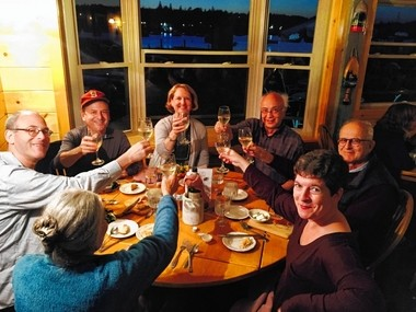 At a restaurant in Bass Harbor, Maine, four days after LIGO discovery of gravitational waves: Syracuse University physicist Peter Saulson (in baseball cap), with his wife Sarah to his left; LIGO founder Rainer Weiss on the far right and next to him, Richard Isaacson, retired National Science Foundation program officer who got LIGO funded.