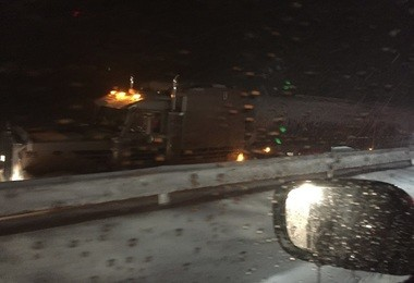 Cazenovia resident Bob Fetterman took this photo of a tractor-trailer on I-81. Fetterman and many others were stuck in traffic on I-81 North between LaFayette and Tully. Traffic was at a standstill on both I-81 North and South in the area of Nedrow, LaFayette and Tully for hours Monday during the first snow storm of the season in Central New York.