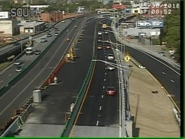 This is the view from a traffic camera of I-690 West near Teall Avenue in Syracuse at 7 a.m. on Wednesday, May 30, 2018. It shows the new lanes are completed going westbound.