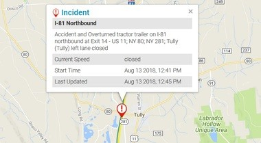 Update: I-81 North at Tully may shut down to remove crashed