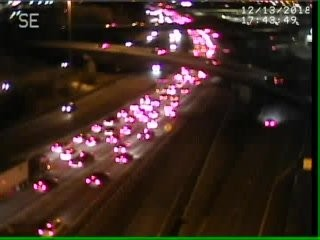 A traffic cam shows traffic backed up on I-81 south in Syracuse on Thursday, Dec. 13, 2018.