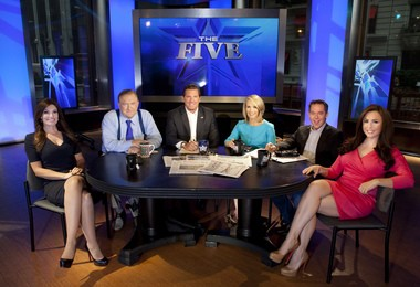 "This July 1, 2013 photo shows, from left, Kimberly Guilfoyle, Bob Beckel, Eric Bolling, Dana Perino, Greg Gutfeld and Andrea Tantaros co-hosts of Fox News Channel's ""The Five"" following a taping of the show in New York."