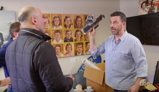 Jimmy Kimmel holds up one of two Brannock devices found in his writer's office during an intervention for hoarding.