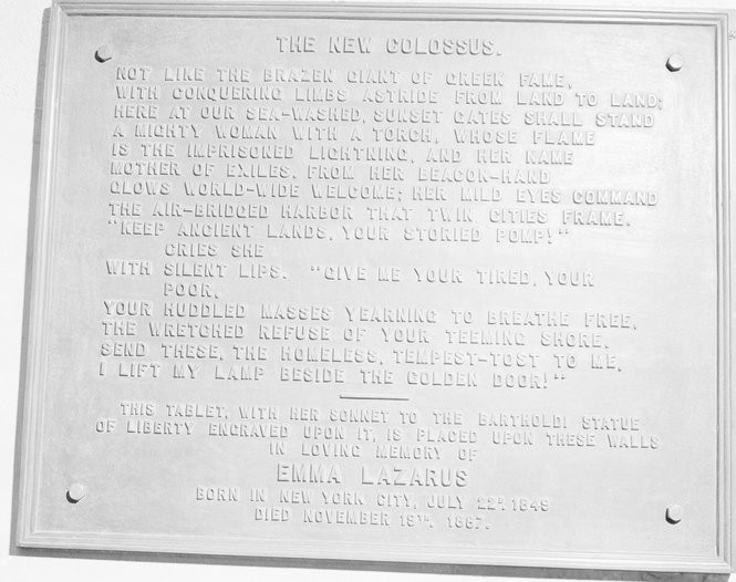 This circa 1950 photo shows a bronze plaque of the poem by Poet Emma Lazurus on Statue of Liberty in New York.