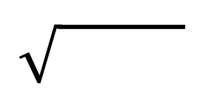 The math symbol for finding the square root is pictured.