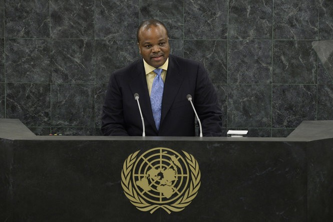 King Mswati III, Head of State of the Kingdom of Swaziland, addresses the 68th session of the General Assembly at United Nations headquarters, Wednesday, Sept. 25, 2013.