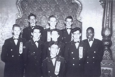 This is a team of Loew's State Theater ushers in the 1940s. Courtesy of John DeMitto, who is second from the right in the middle row.
