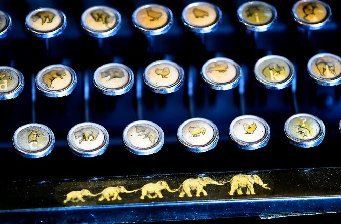 """Onondaga Historical Association (OHA) has collected over 80 typewriters manufactured in Syracuse or Central New York. This is a detail of the the 1933 Smith-Corona """"animal keyboard"""" typewriter."""