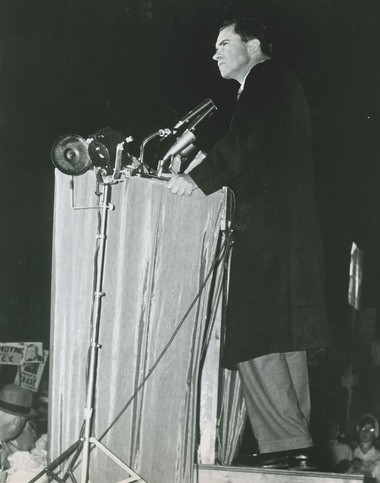 Vice President Richard Nixon at the podium in Clinton Square on November 1, 1960. The Republican presidential nominee spoke before an estimated 18,000 supporters.