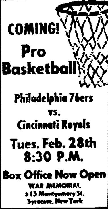 This ad for the Philadelphia vs. Cincinnati NBA game appeared in the Feb. 26, 1967 Herald American.