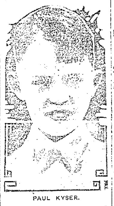 A picture of Paul Kyser, from the Jan. 30, 1923 Syracuse Herald.