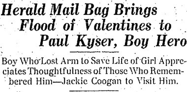 Area residents flooded Paul Kyser's home with valentines after a Herald reader thought it would cheer him up after losing his right arm.