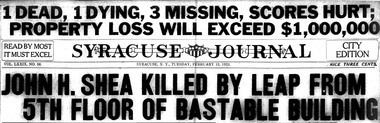The headlines from the Syracuse Journal the day after the Bastable Building fire on Feb. 12, 1923.