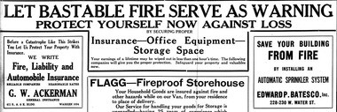 Fire insurance companies took advantage of the fire. The day after the fire an entire page of insurance advertisements were in the Syracuse Journal.