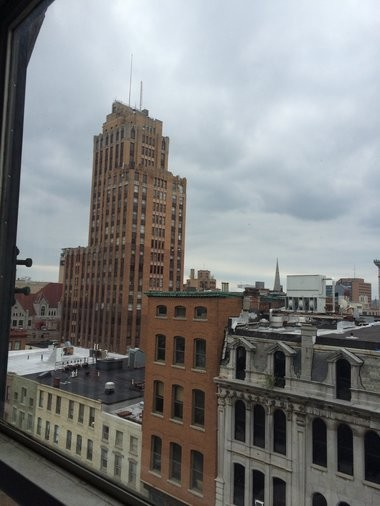 The State Tower Building is seen from the Syracuse Savings Bank Building in Syracuse. Plans for the city's tallest building emerged from the ashes of the Bastable fire in 1923.