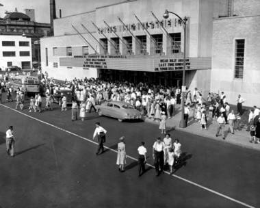 Outside of the Billy Graham crusade at the War Memorial in August 1953.