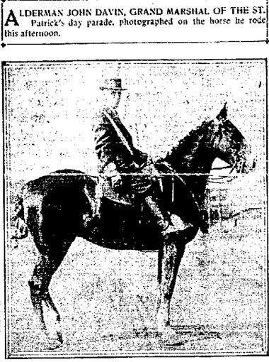 """Alderman John Davin was the grand marshal for the 1914 St. Patrick's Day parade in Syracuse. He was photographed on the horse he rode. The horse was extremely difficult to ride, especially after Davin was presented with a bouquet of carnations. But he did well, and proved to be """"a skillful rider."""" This clipping is from the March 17, 1914 Syracuse Herald."""