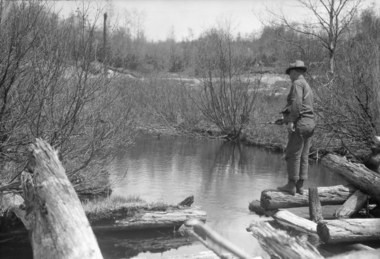 View of a man fishing on Hatch Brook in Franklin County in the Adirondack Mountains, possibly 1938.