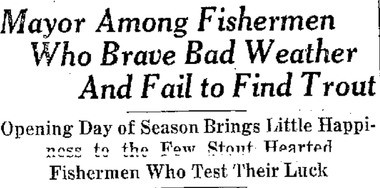 The headlines from the Herald American in 1940 did not mention the Syracuse mayor's fall while fishing.