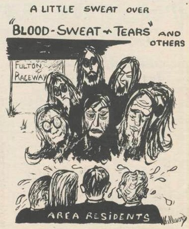 This cartoon from the Oswego Valley News illustrates the fear that some Fulton residents had over the band Blood Sweat and Tears appearing at the Fulton Raceway.