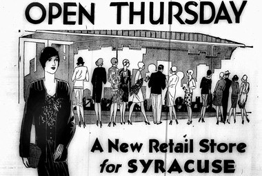 An advertisement welcomes shoppers to the new downtown Sears store in the Oct. 1, 1929 edition of the Syracuse Journal.