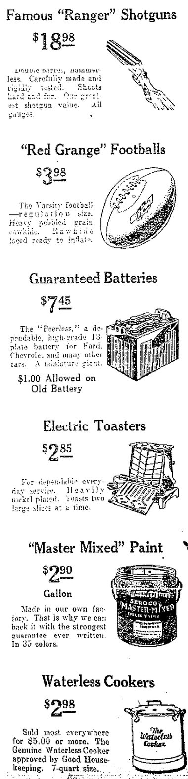 The new Sears offered shoppers quite an inventory when it opened on Oct. 3, 1929. Shotguns, Red Grange footballs, toasters, paint and waterless cookers were just some of the items on sale.
