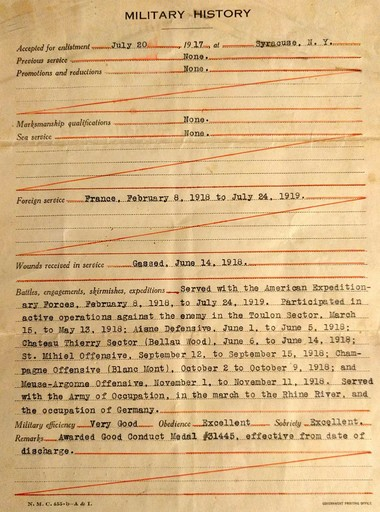 Mark McCarthy's military history following his discharge from the marines in 1919. Although it says he was gassed in 1918, he would not be awarded a Purple Heart until last year.