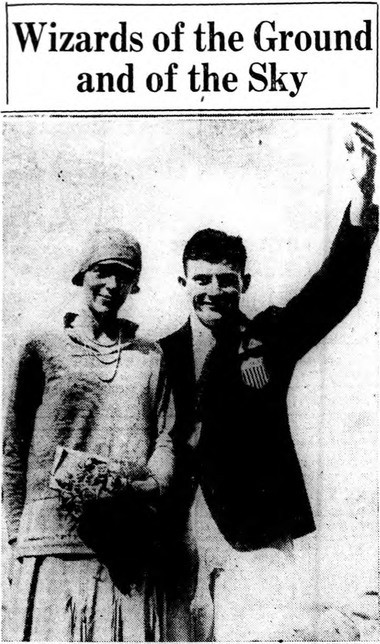 Amelia Earhart has her picture taken at the New York State Fair on Aug. 27, 1928 with Ray Barbuti, the Syracuse University football captain who had just won two Olympic gold medals in Amsterdam.