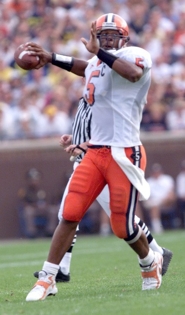 Donovan McNabb passes for 233 yards against Michigan and was responsible for four touchdowns.