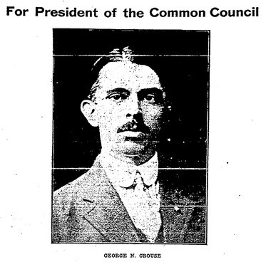 An image of George Nellis Crouse from a newspaper political advertisement.
