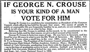 This George Crouse political ad was large, taking up a third of the Syracuse Herald page. Crouse told voters about his life story, accomplishments and clubs he was involved in. He never mentioned his new wife, Rita.