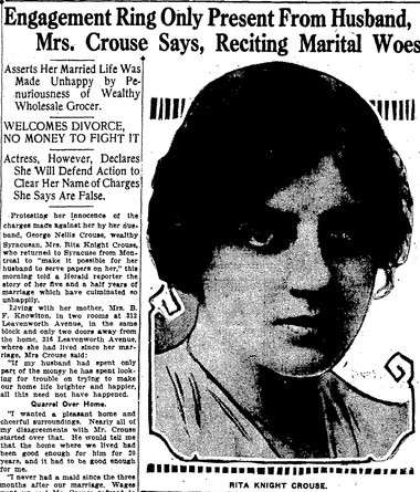 With her marriage over, Rita Knight reached out to Syracuse newspapers. In this clipping from the Nov. 8, 1923 Syracuse Herald, Knight complained that her husband was stingy with money and said her engagement ring was the only thing she ever received from him.