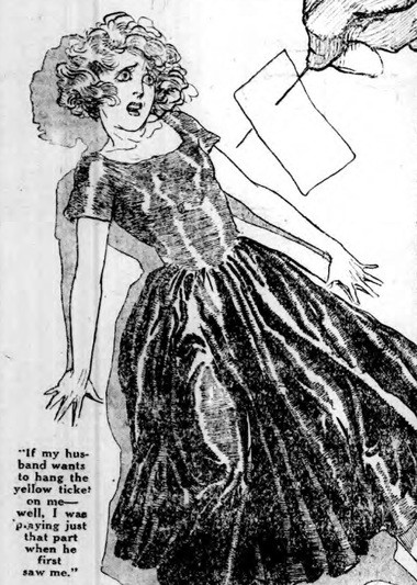 "In a cartoon from a 1924 profile, Rita Knight says her ex-husband tried to ""hang the yellow ticket on me,"" alluding to prostitution and the play that he first saw her in."