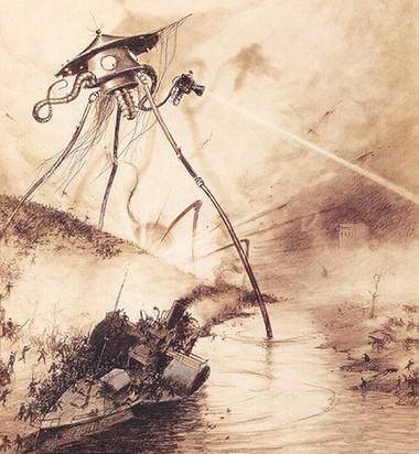 "An illustration of the Martian invasion by Alvim Correa, from the 1906 French edition of H.G. Wells' ""War of the Worlds""."