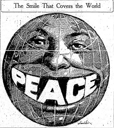 A cartoon from the Nov. 11, 1918 Syracuse Herald shows the world finally smiling after the First World War ended.