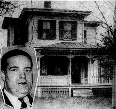 The Baldwinsville farmhouse owned by farmer Joseph McGann. He was found by a neighbor bloody and dazed after being struck on the head on Sept. 15, 1933. Deputy Sheriff Raymond Guilfoyle is seen in the corner.