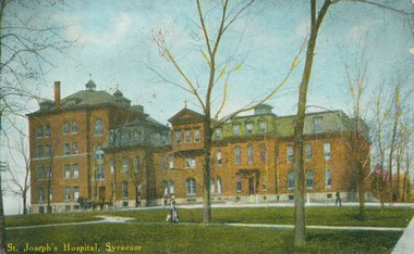 St. Joseph's Hospital as it would have looked in the late 1890s. The building was said to the highest point on the Syracuse's north side and was thought to be the logical spot a pigeon flying from the North Pole would land in the city.