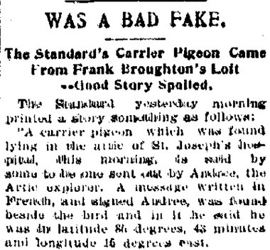 """The Standard's pigeon story was called a """"good story spoiled"""" and a """"bad fake"""" by the Syracuse Courier."""