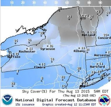 The forecast is for light clouds early Thursday morning.