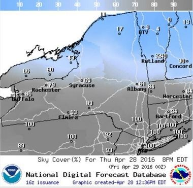 Clouds are expected to cover most of the sky this evening. This forecast map shows projected cloud cover at 8 p.m.
